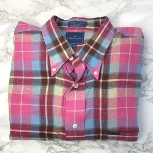 FACONNABLE 100% Linen Pink Plaid Button Down Shirt